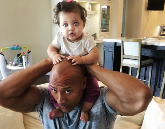 Dwayne Johnson shares a touching moment with his baby daughter