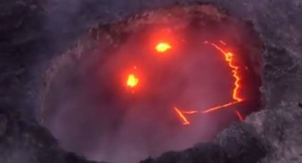 Hawaii volcano makes a smiley face … yes, really