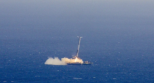 Huge crash as SpaceX rocket smashes into barge