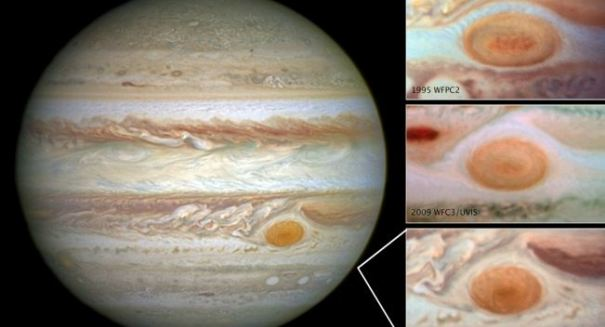 Hubble images of Jupiter reveal the Great Red Spot is dwindling