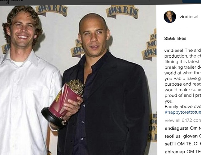 Vin Diesel hopes Paul Walker is proud of 'Furious 8'